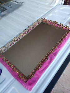 Vintage Mid Century Brass Frame Vanity  Mirror Tray Dresser Top