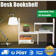 Wood Bookshelf Holder Desk Tabletop Organizer Rack Storage Bookcase 2 Unit DIY