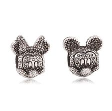 Disney Shimmering Mickey Minnie Mouse Silver Charm Bead fits European Bracelets