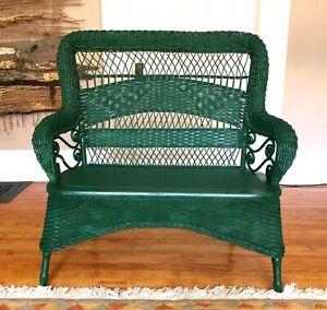 19c Antique Larkin and Co Wicker Settee Love Seat