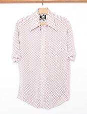 Vintage B.V.D Red & Black Cross Check Plaid Polyester Blend Disco Shirt Sz. L