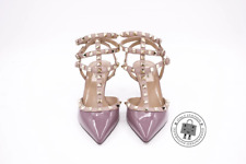 "Valentino LW2S0375VNW Rockstud Ankle Strap 65MM / 2.5"" Violet / 770 Patent 38 He"