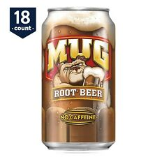 18-PACK Mug Root Beer No Caffeine Soft Drink Cola, 12 oz Cans