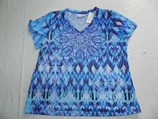 WOMENS patterned T SHIRT TOP blouse AVENUE = (22/24) OR (26/28) = NEW