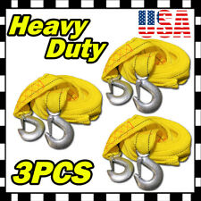 "3PC 13FT (2"" X 13') Yellow Rope Heavy Duty Tow Strap Hooks 10K Lb 5 Ton Capacity"