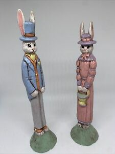 2Easter Bunnies in Pastel Ceramic Figurines Signed Scioto Molds 1991 LN 1993