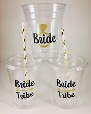 Bride Tribe Party Cups Set of 12 WITH Lids and Straws Bachelorette Bridal