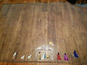 VTG Blue & Gold Tulle Nativity Scene Base Jesus Mary Joseph Table Cloth Runner