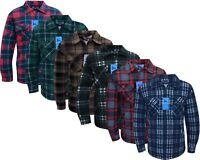 Mens Fleece Padded Lumberjack Shirt Jacket Fur Lined Sherpa Winter Warmer M-5XL