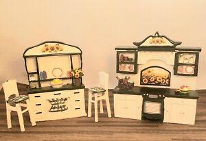 Dollhouse Miniature Pretty 1:16 Scale Resin Kitchen Set Sunflower Motif