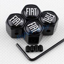 Black Anti-theft Tyre Valve Cap Trim For Fiat Car Wheel Dust Cover Accessories