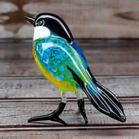 "Glass Tit Bird Animal Figurine, Handmade Hand Blown Art Glass Figure 3.25"""