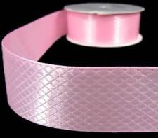 "3 Yds Light Pink Pastel Embossed Diamond Quilt Satin Ribbon 1 3/8""W"