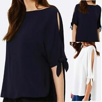 Women Cold Shoulder Shirt Tops Summer Casual Loose Blouse Ladies Tee Party Dress