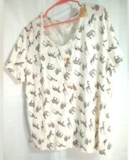 North Crest Women's Plus Top 1X Elephants, Giraffe, Lion and Tiger Off White