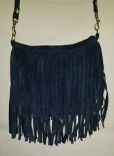 "JJ Winters Blue Leather Suede fringe Coachella Boho Purse bag Mini 5.5"" x 7.5"""