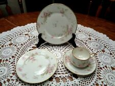 4pc Vintage Theodore Haviland Limoges France Pink Floral  Tea Place Setting