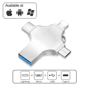 1TB USB 3.0 Flash Drive 4 in 1 Memory Stick For iPhone iPad Android PC Type-c