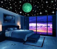 Glow in the Dark Stars w/ Big 20cm Moon Luminous Wall Decal Stickers, Room decor