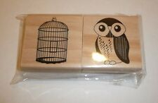 Set of 2 Stamps - Owl and Bird Cage - Wood Wooden Rubber Stamps Michaels