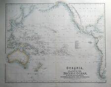 Océanie, îles du Pacifique, Australie, Nouvelle-Zélande, Fullarton antique map c1865