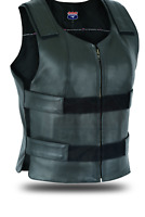 Colored Bullet Proof style Leather Motorcycle Vest bikers Club Tactical Vest