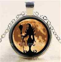 Witch With Full Moon Cabochon Glass Tibet Silver Chain Pendant Necklace