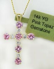 PINK TOPAZ  0.57 Cts & WHITE SAPPHIRES CROSS PENDANT 14k YELLOW GOLD *NWT*