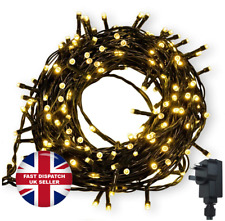 500 LED 52m Warm String Fairy Lights On Dark Green Cable 8 Light Modes Christmas