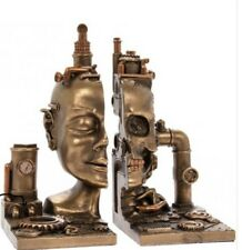 NEW PAIR of HEAVY STEAMPUNK CYBER SKULL BRONZED EFFECT BOOK ENDS/BOOKENDS BNIB