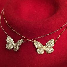 VC Butterfly Inspired Gold-tone Pendant Necklace with Pavé CZ 20MM
