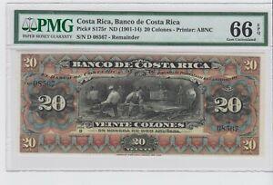 BANCO DE COSTA RICA 1901-14 REMAINDR S175r 20 Colones   GEM UNC PMG 66 EPQ. RARE