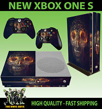 XBOX ONE S SLIM Console Sticker ABSTRACT SKULL GEOMETRIC GRID SKIN & 2 PAD SKINS
