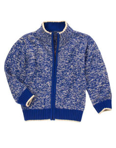 NWOT Boys Gymboree Royal Blue Ivory Marled Knit Zip Cardigan Sweater Sz L, 10-12