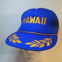 Vtg Blue Hawaii Trucker Hat Cap Mesh Foam Rope Gold Leaf Scrambled Egg Snapback