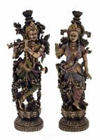 Hindu God Radha Krishna Idol Sculpture Statue Figurine Polyresin Home Decor