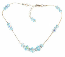 AQUAMARINE Blue Crystal Anklet ANKLE BRACELET Sterling Silver Swarovski Elements