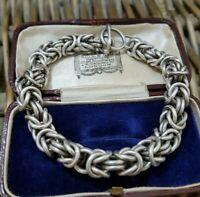 Vintage Sterling Silver Chain Bracelet, Byzantine Pull On Bracelet, 58 GR, Large