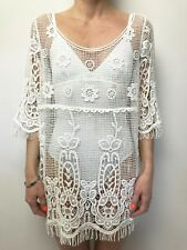 ZARA BASIC sz large cream crochet sheer dress short sleeve