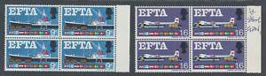 Great Britain SG 715-716h MNH. 1967 EFTA, 1sh6p Broken Undercarriage Leg Variety