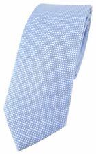 schmale TigerTie Designer Krawatte Pique hellblau-weiss gemustert - Baumwolle
