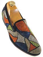 Fiesso Men Orange Blue Multicolor Rhinestone Pattern SlipOn Red Bottom Fun Shoe