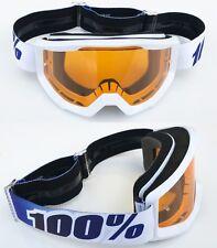 100% Por Cien ESTRATOS MOTOCROSS MOTO Gafas Equinox Blanco Con Naranja tintado
