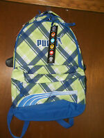 Puma Green Blue Archtype backpack laptop holder reflector strap ADJ straps NWT