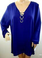 NY Collection Women Plus Size 1x 2x Navy Blue Sharkbite Tunic Top Blouse Shirt