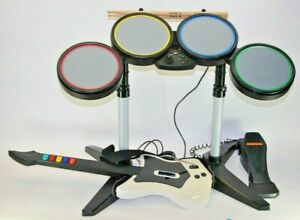 Rock Band Set Harmonix Wired Drums Red Octane Wireless Guitar PS2 PS3 Pedal Stic