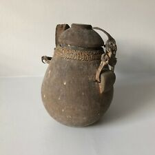 African Tribal Water Vessel Artifact Carved Woven Primitive Jug Container