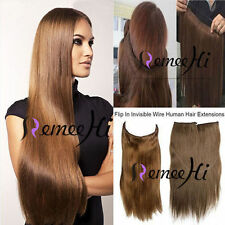 """16""""~24 100%25 Invisible Fits Halo Wire Human Hair Extensions one piece 80G -120g"""