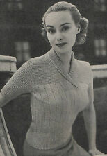 Vintage Knitting Pattern Lady's 1950s Short Sleeved Jumper with Rolled Collar.
