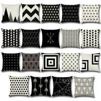 Cotton Linen Throw Black & White Cushion Cover Pillow Case Home Sofa Car Decor